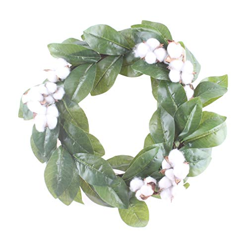 LiQiDécor Magnolia Leaf and Cotton Wreath, Handmade 19 inch Green Leaf,Cotton Grapevine Wreath for Summer/Fall Festival Celebration Front Door/Wall/Fireplace Laurel Home Relaxed Decor ()