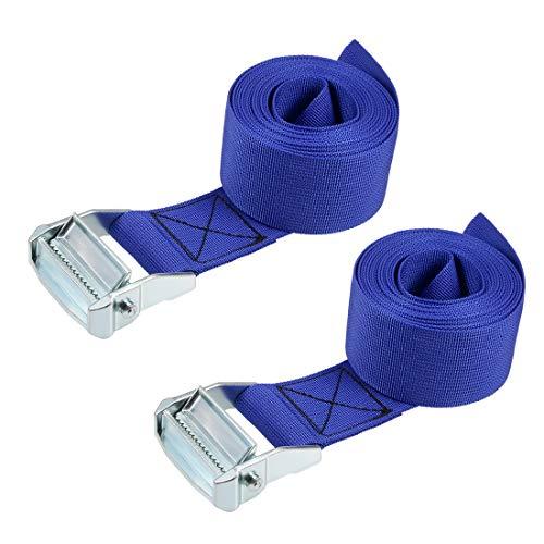 uxcell 荷物ストラップ ラッシングストラップ ベルト 荷物固定ロープ 荷物落下防止 3.5Mx5cm 500Kg ブルー タイダウンストラップ 2個入り
