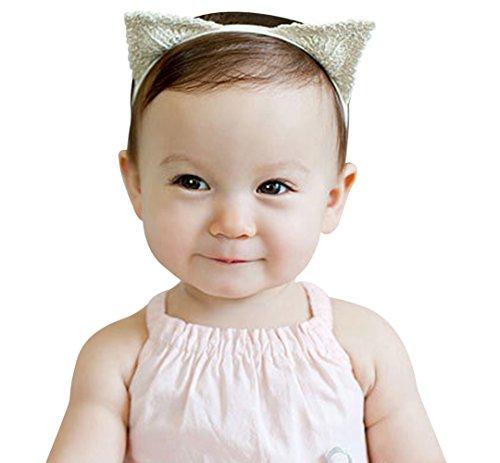 BYP Lace Knitting Baby Girls Headband Hair Band Cute Cat's Ear Shape Headdress Elastic Hair Accessories - Head Shape Cat