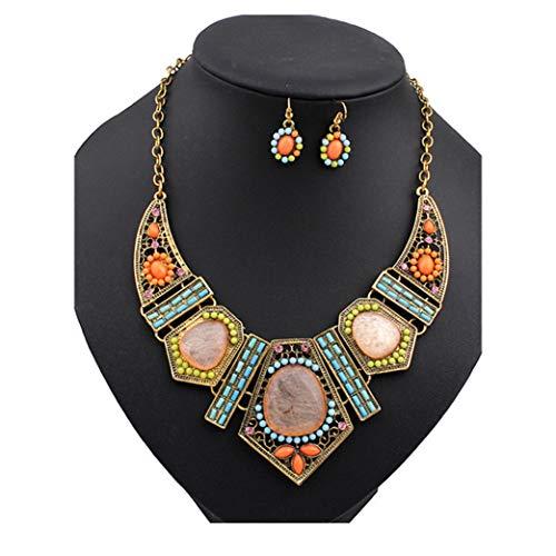 Set Beaded Yellow Jewelry (Yanvan Vintage Women Jewelry Sets, Flower Crystal Bubble Necklace Earrings Set, Elegant Long Chain Necklace)