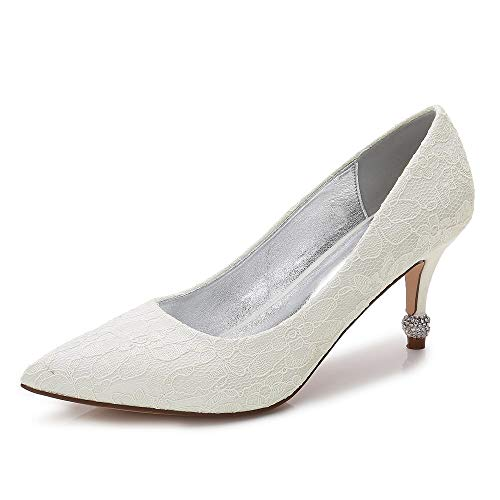 con Heel Satin Satin pompon Punta Cone punta Zxstz Low Scarpe da a Heel da sposa Kitten Avorio donna Heel Basic Scarpe Comfort wwpz6vqR