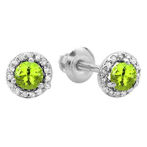 Dazzlingrock Collection 10K Round Peridot & White Diamond Ladies Halo Stud Earrings, White Gold
