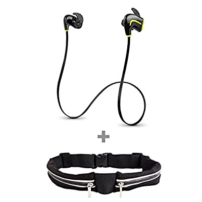 Photive PH-BTE50 Lightweight Wireless Bluetooth 4.0 Earbuds. Premium Sweat-proof wireless Earbud Headphones with built in Microphone and 7 Hour Battery. Watersafe Technology Powered by Liquipel. + Double Pocket Waist Pack Running & Fitness Workout Belt