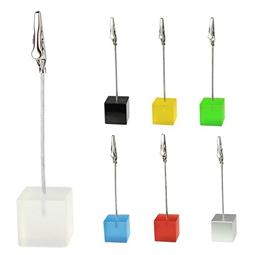 Hrph 10pcs Cube Wire Resin Base Memo Photo Holder Card Paper Note Clip Black by Hrph (Image #3)