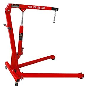 Torin Big Red Steel Engine Hoist / Shop Crane with Foldable Frame, 1 Ton (2,000 lb) Capacity