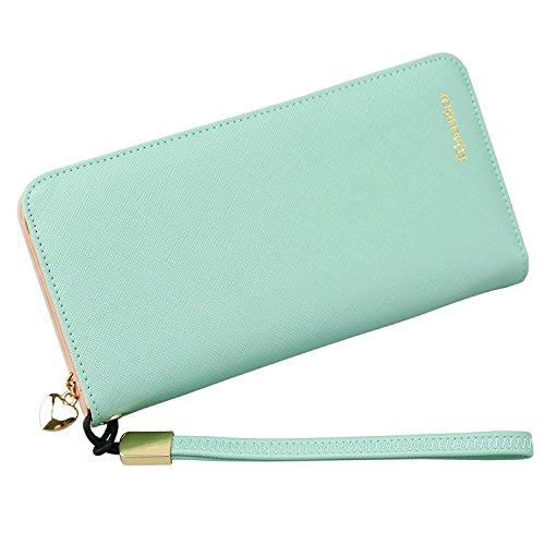 KQueenStar Women Lady Leather Wallet Purse Credit Card Clutch Holder Case(Green with Wrist Strap)