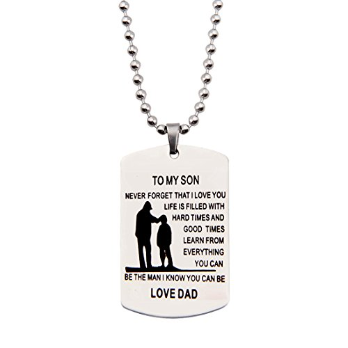Awareness Dog Tag (Father Son Pendant To My Son Never Forget That I love You Dog Tag Necklace Gift from Father (to my son necklace))
