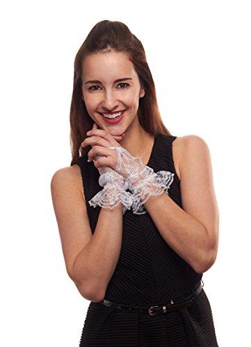 (Lush Life Fingerless Lace Wrist Gloves with Ruffle, White)