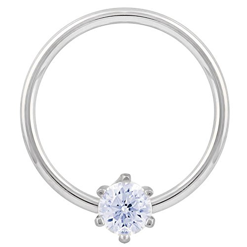Diamond 0.11CT. T.W. Round Prong 14K White Gold Captive Bead Ring 18G 3/8