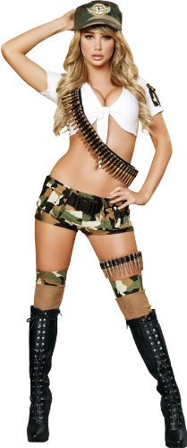 [Roma Costume 5 Piece Sassy Army Brat Costume, Camouflage, Medium/Large] (Sexy Army Costumes For Women)