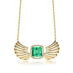 Yellow Gold Emerald Diamond Pendant Necklaces