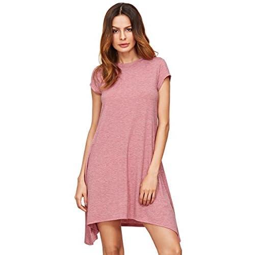 542c0d0587 ROMWE Women s Short Sleeve T-Shirt Casual Loose Fit Tunic Swing Dress  low-cost
