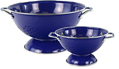 Reston Lloyd 2 Peice powder Coated Colander Set, 1qt and 3qt, Indigo