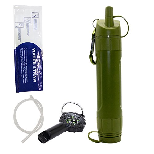 Emergency Water Filter, Portable Aqua Personal Filter Emergency Drinking Water filtration straw for Camping Hiking Backpacking Prepping removes 99.9% bacteria Filter to 0.01 Microns