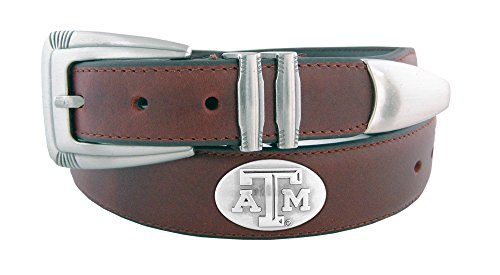 NCAA Texas A&M Aggies Men's Leather Concho Tapered Tip Belt, Brown, 44