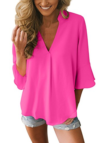 Dokotoo Womens Plus Size Elegant Summer 3 4 Bell Sleeve V Neck Chiffon Silk Tops Casual Solid Blouse Loose Shirts Rose X-Large