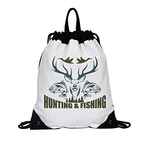 Hunting Decor Canvas Drawstring Bag,Artistic Emblem Moose Head Horns Trout Salmon Sea Fishes Decorative for Travel School,7.4