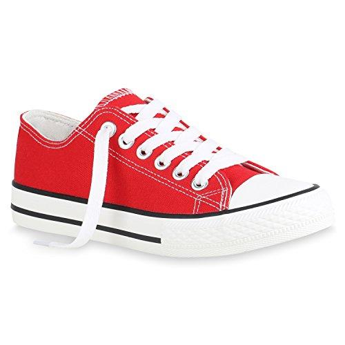Unisex Damen Herren Schuhe Sneakers Turnschuhe Freizeitschuhe Low Sneaker Übergrößen Prints Glitzer Denim Flandell Rot Brooklyn
