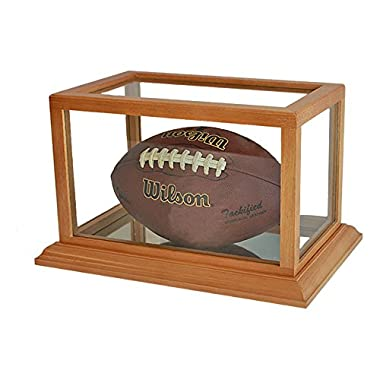 Football Display Case Stand with UV Protection, Wooden frame, FB73-OA