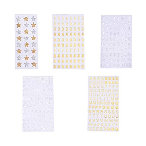 PandaHall Elite 5 Sheets Glitter Alphabet Decorative Sticker Self Adhesive Letters Number and Star Label Stickers for Kids DIY Crafts, Scrapbooking, Calendars, Arts, Album Gold and Silver, 392 Pieces