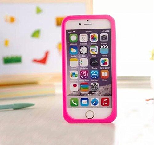 Vandot Kickstand Silicona Case para iPhone 6 Plus/6s Plus Funda Orejas de Cristal Precioso Encantadora de Dibujos Animados Bling Caja Suave Carcasa del Silicón del Gel Caso Flexible y Transparente con Owl Rose Rosa