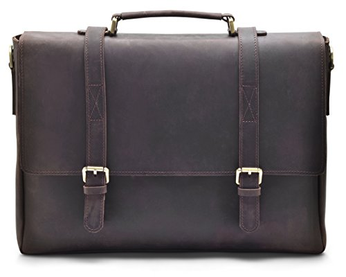 "Hølssen Men's Leather Messenger Bag (Dark Brown) Crossbody Professional Satchel Briefcase w/ 15"" Laptop Pocket by Hølssen"
