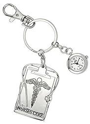 JAS Unisex Novelty Belt Fob/Keychain Watch Nurses Care Silver Tone