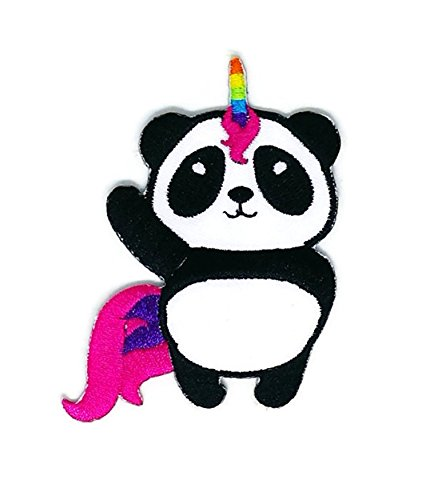 2.5 inches x 3.0 inches Funny Panda Wild Animal Cartoon Sew Iron on Embroidered Applique Craft Handmade Baby Kid Girl Women Cloths DIY Costume Accessories