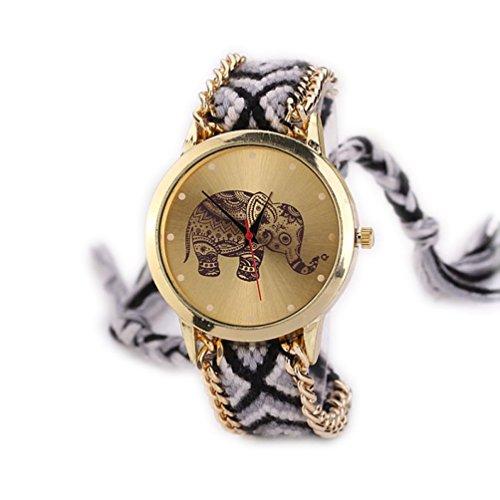 Creazy® Women Elephant Pattern Weaved Rope Band Bracelet Quartz Dial Wrist Watch ()