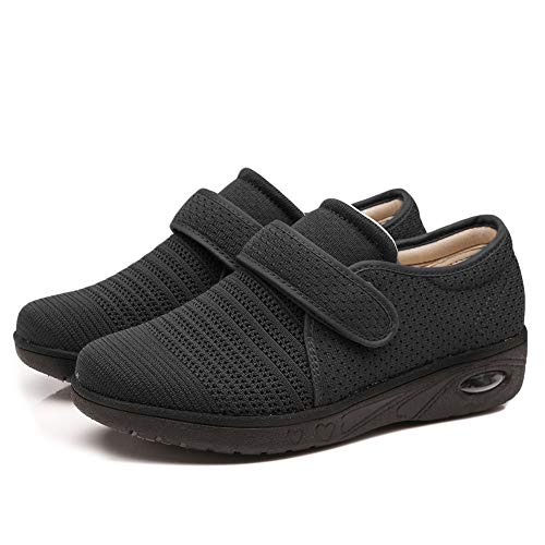Secret Slippers Women's Air Cushion Breathable Adjustable Walking Shoes Comfy Elderly Outdoor Sneakers for Diabetic Orthopedic Edema Black