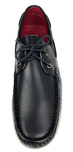 Meada Reactieve Heren Casual Loafers Two-eye Lace Up Klassiek Rijden Bootschoen Zwart