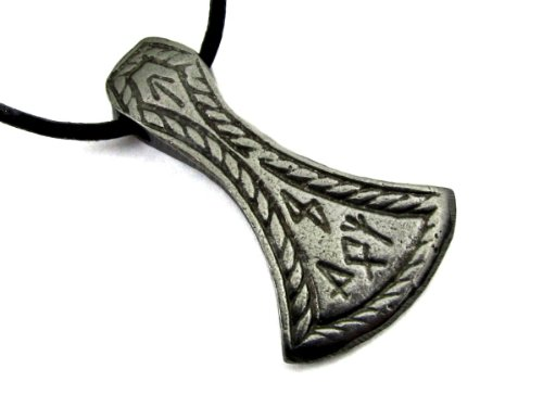 (Celtic Axe Head with Runes, Pewter Pendant with Cord Necklace)