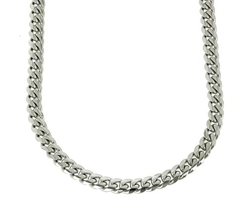 Bling Bling NY Solid Silver Finish Stainless Steel 10mm Thick Miami Cuban Link Chain Box Clasp Lock (Chain 16'')