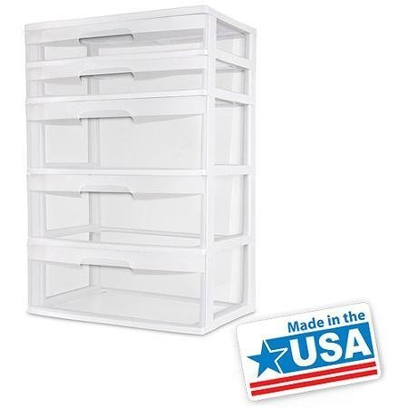 BLOSSOMZ Sterilite 5 Drawer Wide Tower- White (1, White) -