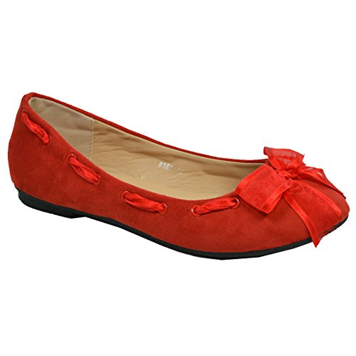 Dolly Pumps Red Slip New Flat on UK Bow Ballet Ladies Ballerina Size Womens Shoes tFIq6Ig
