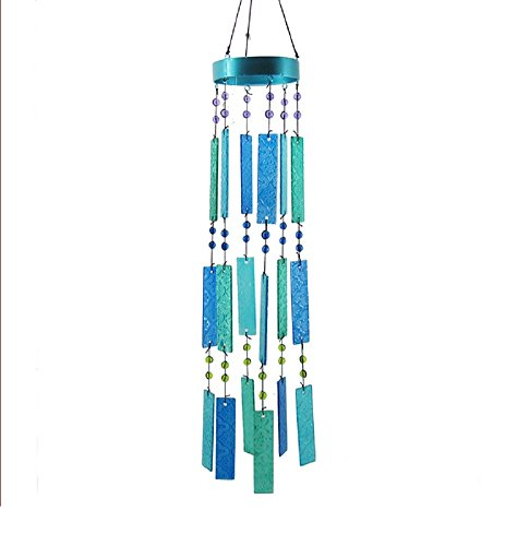 Chesapeake Bay Glass Wind Chimes 30 Inches Blue and Green Bars with Beads 68677