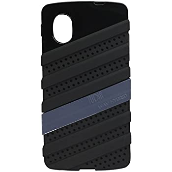 TUDIA [WAV-Hybrid] Dual Material Protective Bumper Case for Google Nexus 5 (Black/Grey)