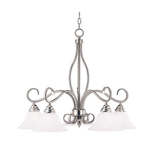 Savoy House KP-SS-101-5-69 Chandelier with White Faux Alabaster Shades, Pewter Finish by Savoy House