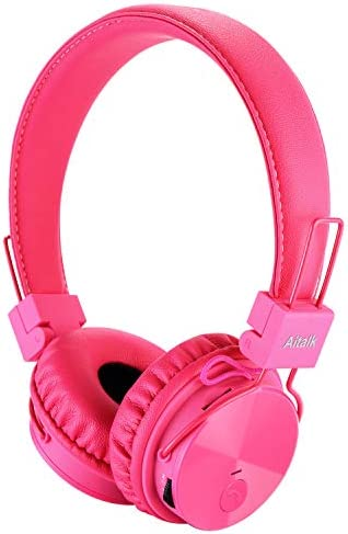Bluetooth Headphones Kids Foldable Volume Limiting Wireless Wired Stereo On Ear HD Headset with SD Card FM Radio in-line Volume Control Microphone for Children