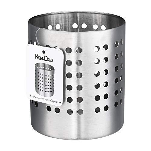 - Kitchen Utensil Holder, KSENDALO Stainless Silverware holder, Kitchen Utensil Drying Cylinder,utility for Kitchen/Home/Office, Diameter 4.72