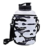 BuildLife 1 Gallon(128OZ) Water Bottle Inspirational Fitness Workout Sports Water Bottle with Time Marker and Sleeve for Measuring Your H2O Intake,BPA Free (1 Gallon, 1 Gallon-Clear with Sleeve)