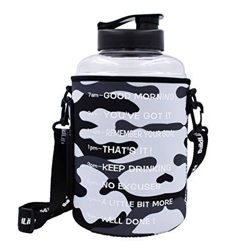 (QuiFit 1 Gallon/128oz Water Bottle Reusable Leak-Proof Drinking Water Jug for Outdoor Camping Hiking BPA Free Plastic Sports Water Bottle with Daily Time Marked)