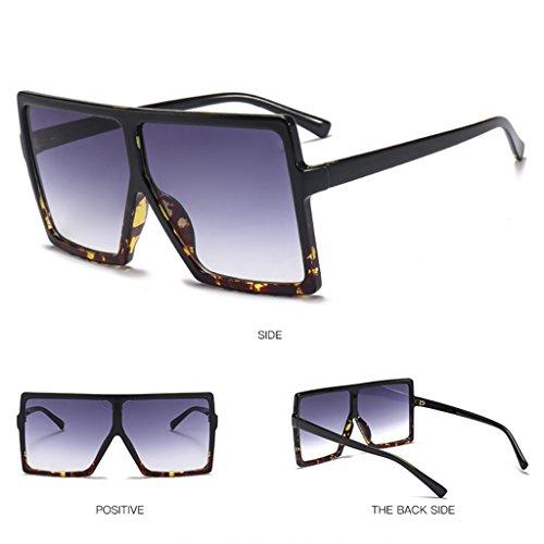 YUNAWU Retro Square Large Frame Sunglasses Men Women Unisex Eyewear Plastic Outdoor ()