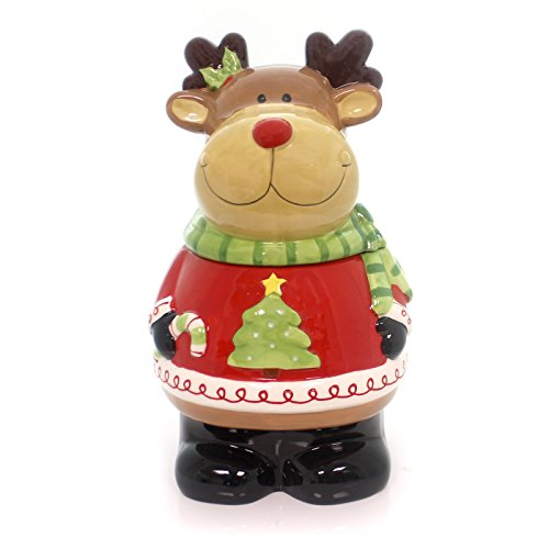 Holiday Ceramic Reindeer Cookie Jar<br>11-1/2H X 6-1/2W X 6-1/2D Inches