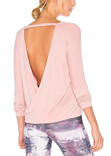 - Mippo Women's Casual Crew Neck Backless Long Sleeve Shirt Loose Open Back Top Back Knot Casual Workout T-Shirt Pink XL