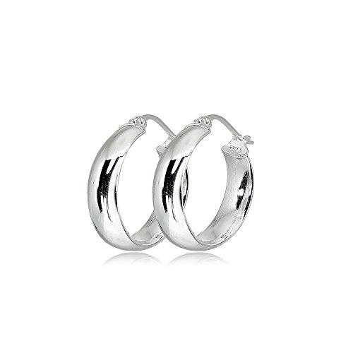 LOVVE Sterling Silver High Polished Half Round-Tube Click-Top Hoop Earrings, 5x20mm by LOVVE (Image #1)