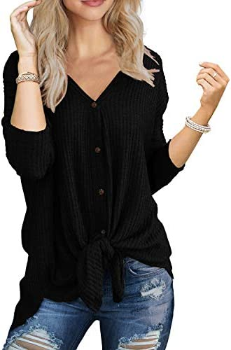 IWOLLENCE Womens Waffle Knit Tunic Blouse Tie Knot Henley Tops Loose Fitting Bat Wing Plain Shirts 1