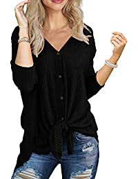 Womens Waffle Knit Tunic Blouse Tie Knot Henley Tops...