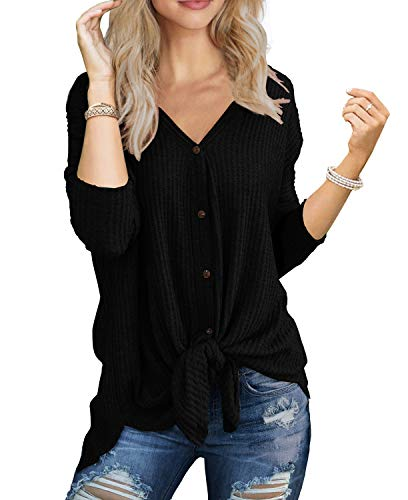 IWOLLENCE Womens Loose Henley Blouse Bat Wing Long Sleeve Button Down T Shirts Tie Front Knot Tops Black 2XL