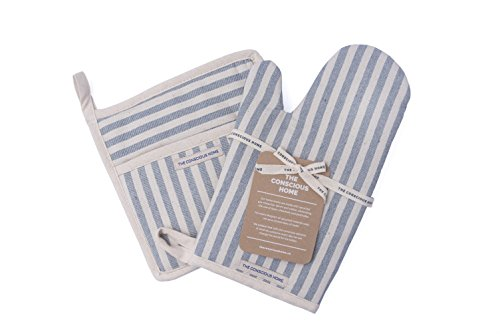 Cotton Oven Mitt, Pot Holder Set (Breton Stripes) - Eco Luxury, Upcyceld Denim and Cotton, Sustainable and Beautiful for the Kitchen and Amazing Gift! (Set of 2) (Designs Oven Mitt Set)